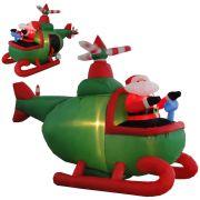Helic�ptero Infl�vel Decora��o de Natal 1,50m de Altura Iluminado BiVolt CBRN0609 CD1563