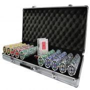 VNE037 - Maleta de Poker 500 Fichas Luxo Brilhantes Numeradas 11,5gr - Maleta Danificada E Amassada