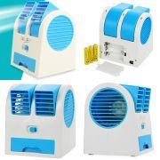 Mini Ventilador Climatizador Port�til Aromatizante 13,5cm � Pilhas ou USB Azul CBRN1057