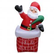 Papai Noel na Chamin� Infl�vel 1,80m Iluminado - 1582