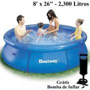 Piscina Infl�vel 2300 Lts Bestway 57008 + Bomba Inflar Manual 244cm di�metro x 66cm altura