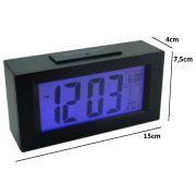 Rel�gio Mesa Digital Data/hora Temperatura sensor luz PRETO CBRN01583
