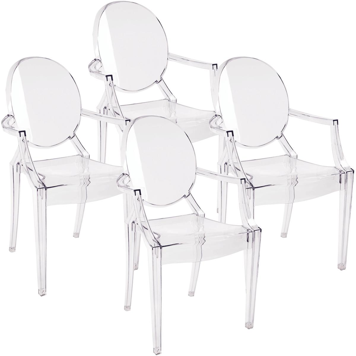 Kit Cadeiras Ghost com Braco x4 - Diversas cores