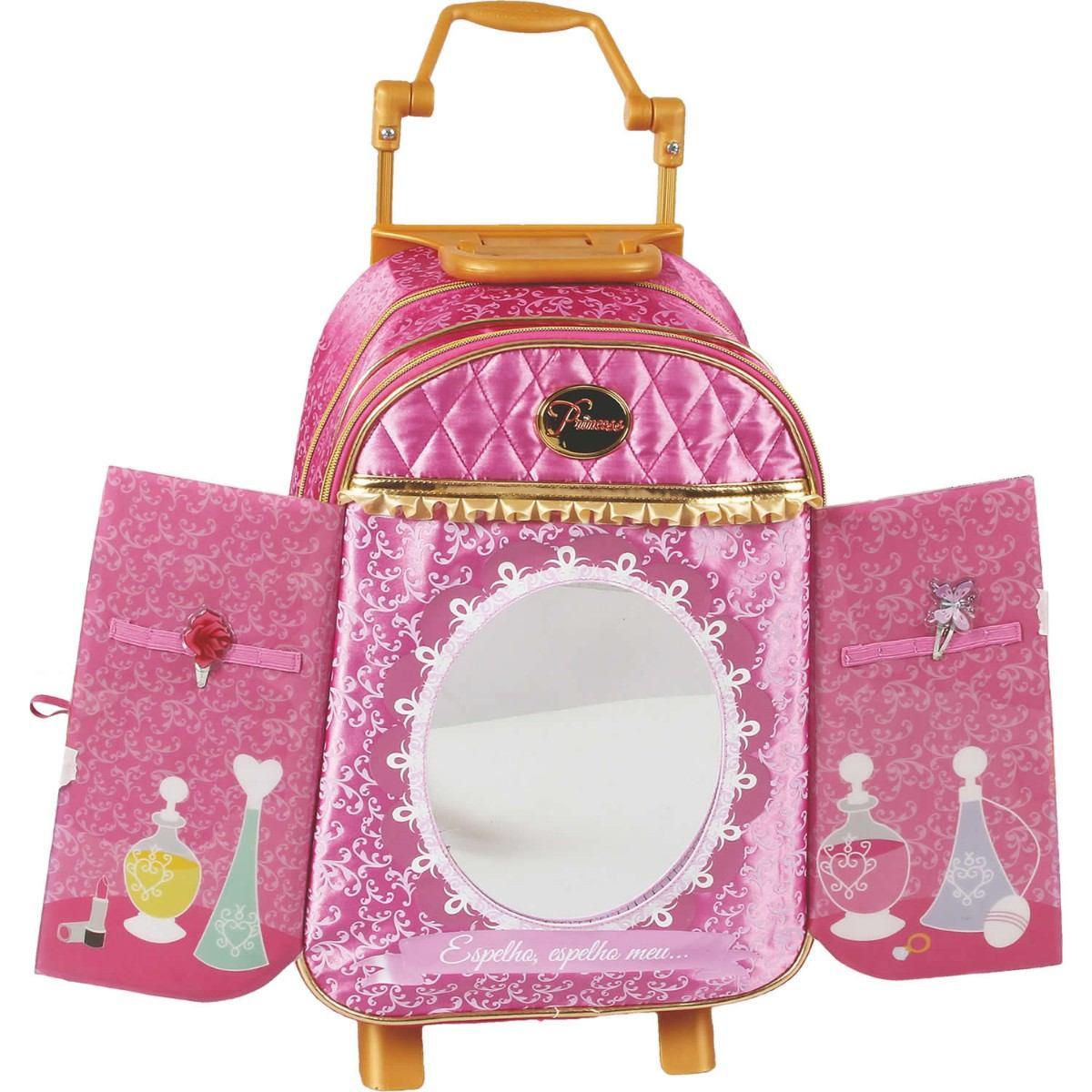 Bolsa De Rodinha Infantil Pequena : Mochila princesas g com espelho e carrinho mil dicas