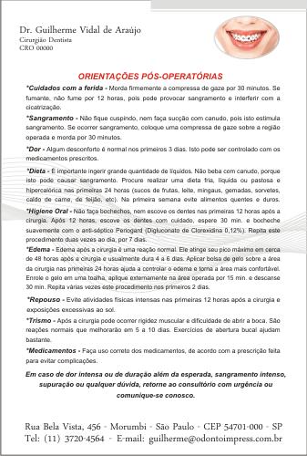 Orienta��es P�s-Operat�rias ORTODONTIA- Ref. 3372