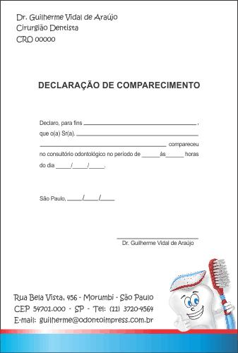 Declara��o de Comparecimento PEDIATRIA - Ref. 3533