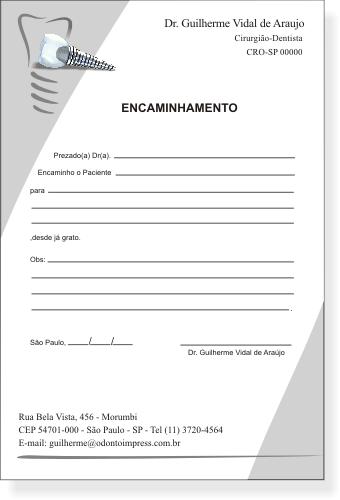 Bloco Encaminhamento Paciente IMPLANTODONTIA - Ref. 3459