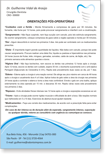 Orienta��es P�s-Operat�rias IMPLANTODONTIA - Ref. 3358