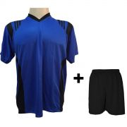 Fardamento Completo modelo Roma Royal/Preto 12+1 (12 camisas + 12 cal��es + 13 pares de mei�es + 1 conjunto de goleiro) - Frete Gr�tis Brasil + Brindes