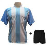 Uniforme Esportivo Completo modelo Milan Celeste/Branco 18+1 (18 camisas + 18 cal��es + 19 pares de mei�es + 1 conjunto de goleiro) - Frete Gr�tis Brasil + Brindes