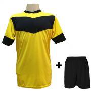 Fardamento Completo modelo Columbus Amarelo/Preto 18+2 (18 camisas + 18 cal��es + 20 pares de mei�es + 2 conjuntos de goleiro) - Frete Gr�tis Brasil + Brindes