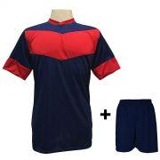Fardamento Completo modelo Columbus Marinho/Vermelho 18+2 (18 camisas + 18 cal��es + 20 pares de mei�es + 2 conjuntos de goleiro) - Frete Gr�tis Brasil + Brindes