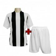 Fardamento - Jogo de Camisa modelo Milan + Cal��o com 12 Branco/Preto - PlayFair - Frete Gr�tis Brasil + Brindes