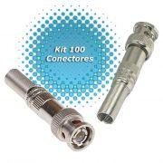 Kit 100 Conectores Bnc Com Mola 4mm E Parafuso Ideal P/ Cftv