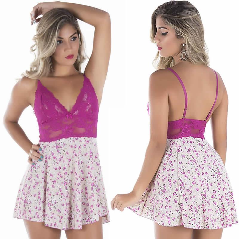 Camisola Sexy Violeta ou Coral Estampada em Liganete e Renda Dany - DR166