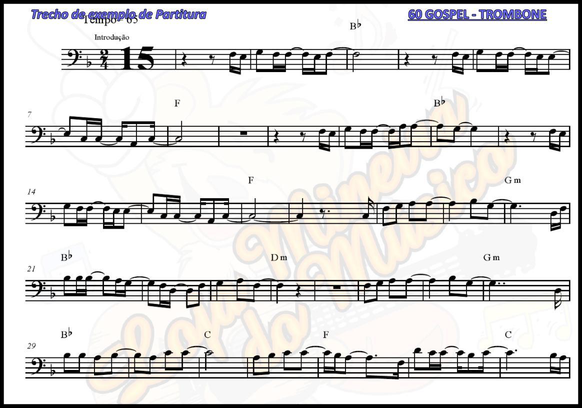 TROMBONE Partituras Gospel com 60 Playbacks Gospel