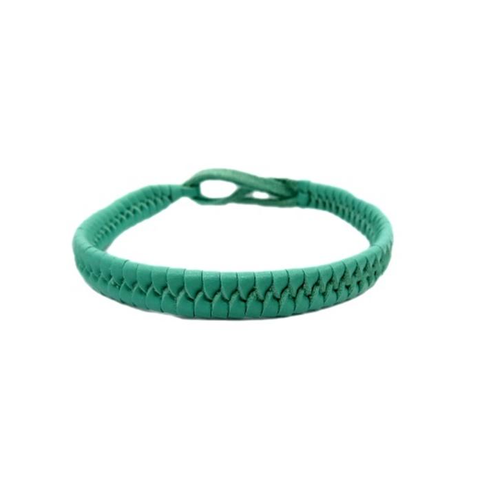 Pulseira couro tran�ado verde piscina- PUL013