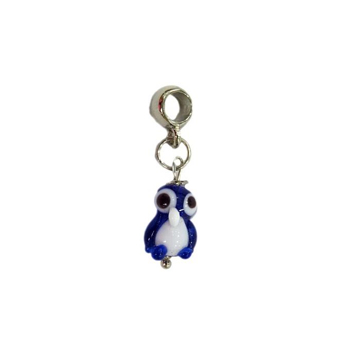 Berloque pingente n�quel pinguim de murano azul�o- BEN174