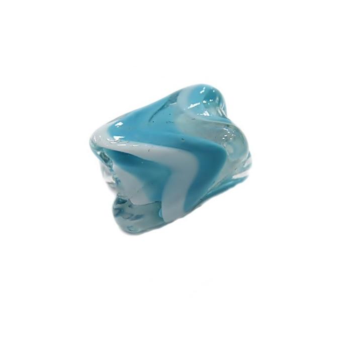 Facetado de murano M branco/ azul turquesa- MU568