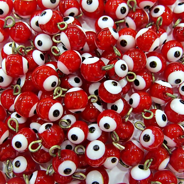 Olho grego pingente vermelho (1.000 unidades)- OGP004 ATACADO