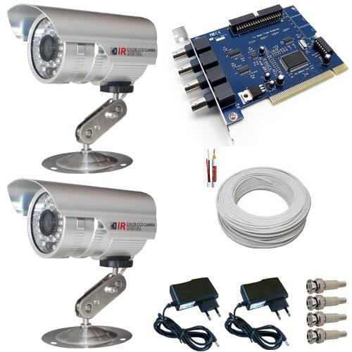 Kit 2 C�meras de Seguran�a com infravermelho 20 metros 480 linhas Completo- Placa Geovision  - Tudoseg Cftv - Sistemas de Seguran�a Eletr�nica