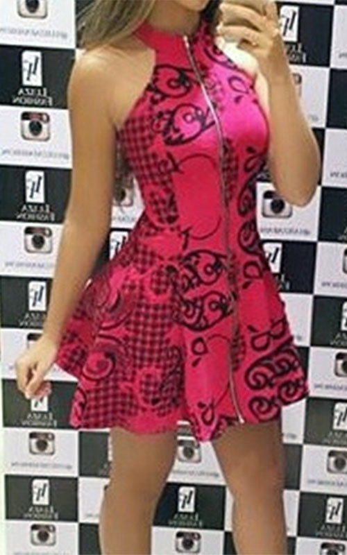 Vestido Jacquard Estampado Pink