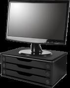Suporte para Monitor de Mesa em MDF Black Piano com 3 Gavetas Black Piano