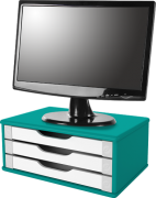 Suporte para Monitor de Mesa em MDF c/ 3 Gavetas Pintado
