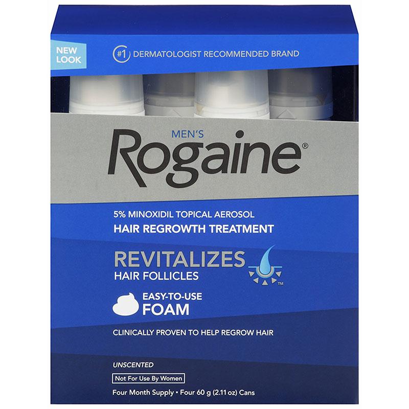 Rogaine Foam 5% - Minoxidil em Espuma 5% - Tratamento para 4 meses