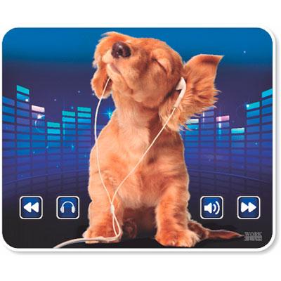 Mouse Pad Cão ouvindo música Mousepad Work Class