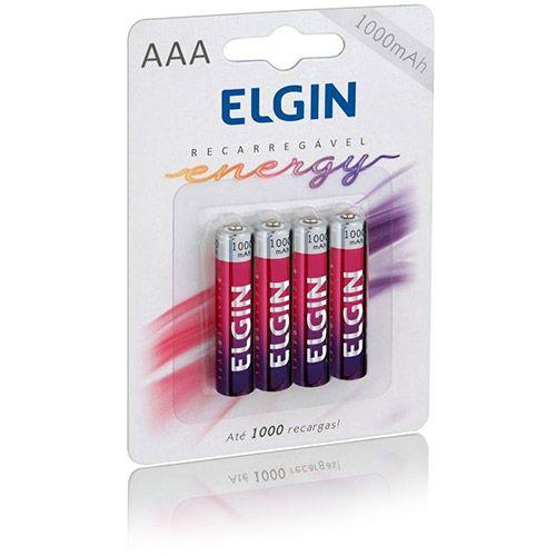 Pilha Recarreg�veis AAA 1000mAH Elgin pacote com 4 pilhas