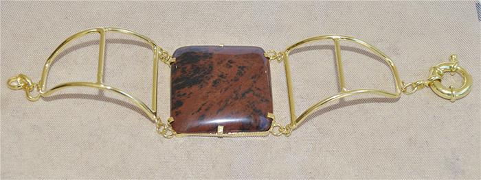 bracelete de obsidiana mogno folheado a ouro