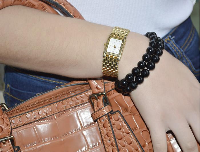 pulseira de pedra natural preta