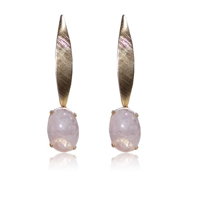 brinco de quartzo rosa natural