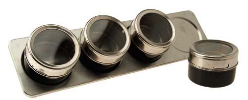 Kit Organizador porta temperos magnetico de inox com 4 Unidades - Frete Grátis