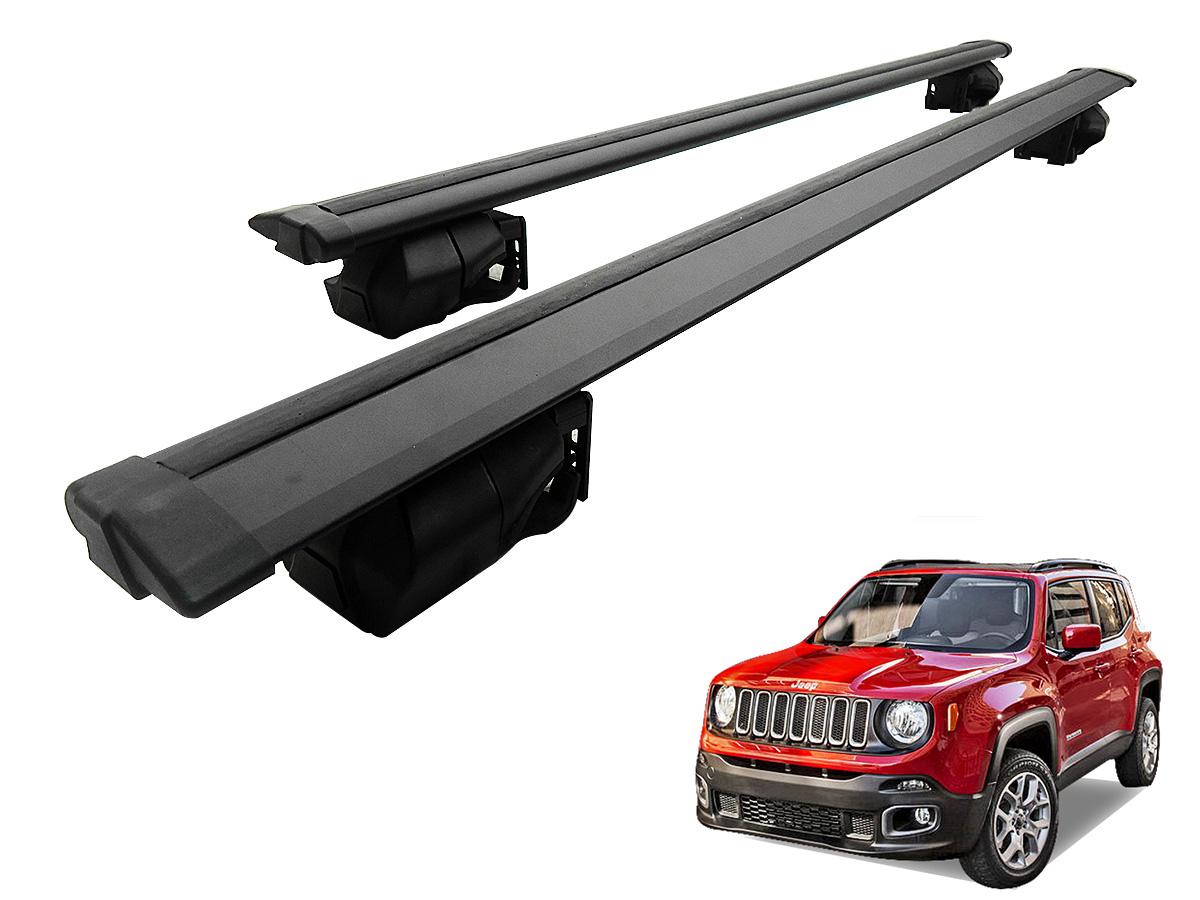 Travessa rack de teto Procargo preta p / Jeep Renegade com trava de segurança