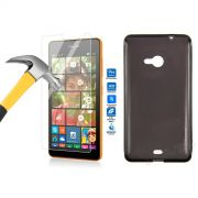 Kit Pel�cula de Vidro Temperado + Capa de TPU para Nokia Lumia 535 - Cor Grafite