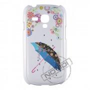 Capa R�gida com Strass Flores e Guarda-Chuva para Samsung Galaxy S III Mini I8190