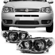 Farol Principal Arteb Fiat Palio Siena 2005 a 2007 Strada 2005 a 2008 Lado Direito Mascara Metalizad