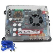 M�dulo amplificador Soundigital SD600.1D Mini 1x 600w rms 1ohm + Brinde 1 Cabo RCA de 5m