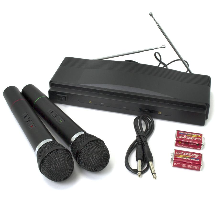 Microfones Sem Fio de M�o Duplo com Receptor
