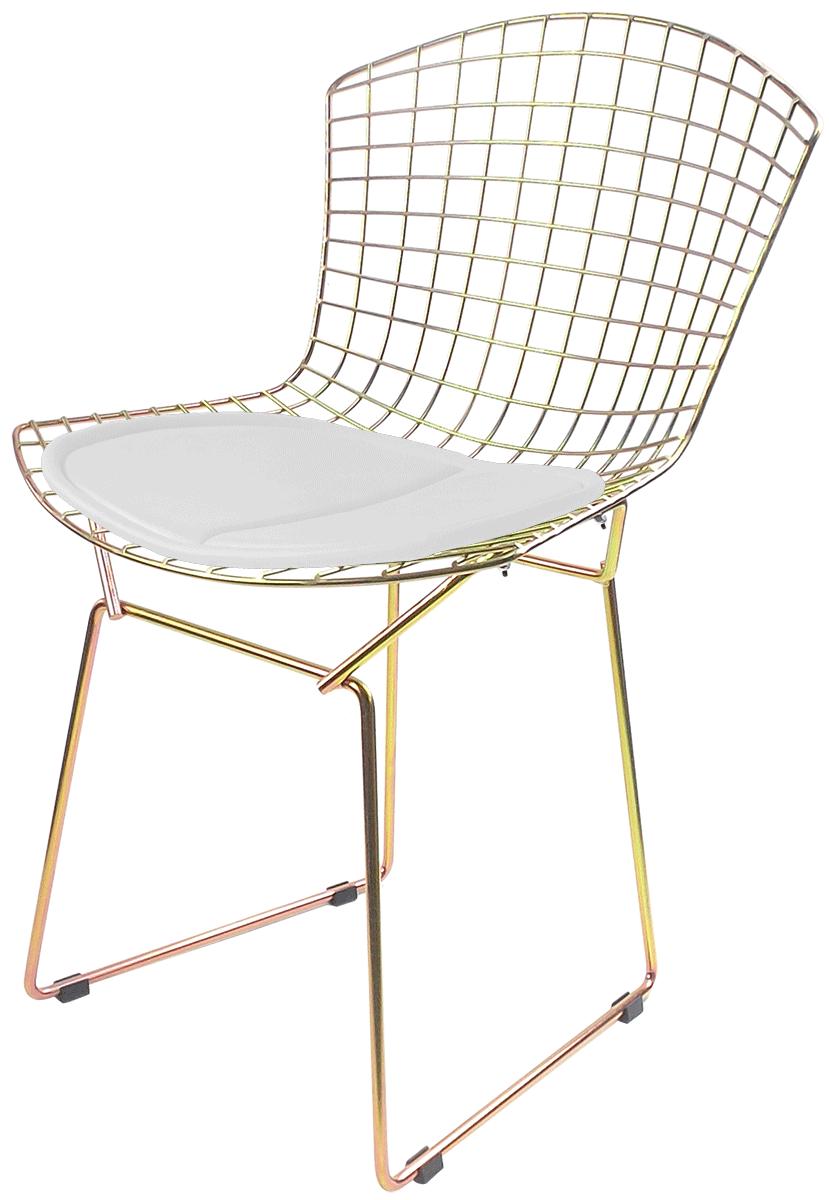 Cadeira Bertoia Galvanizada Metalizada com Assento Branco