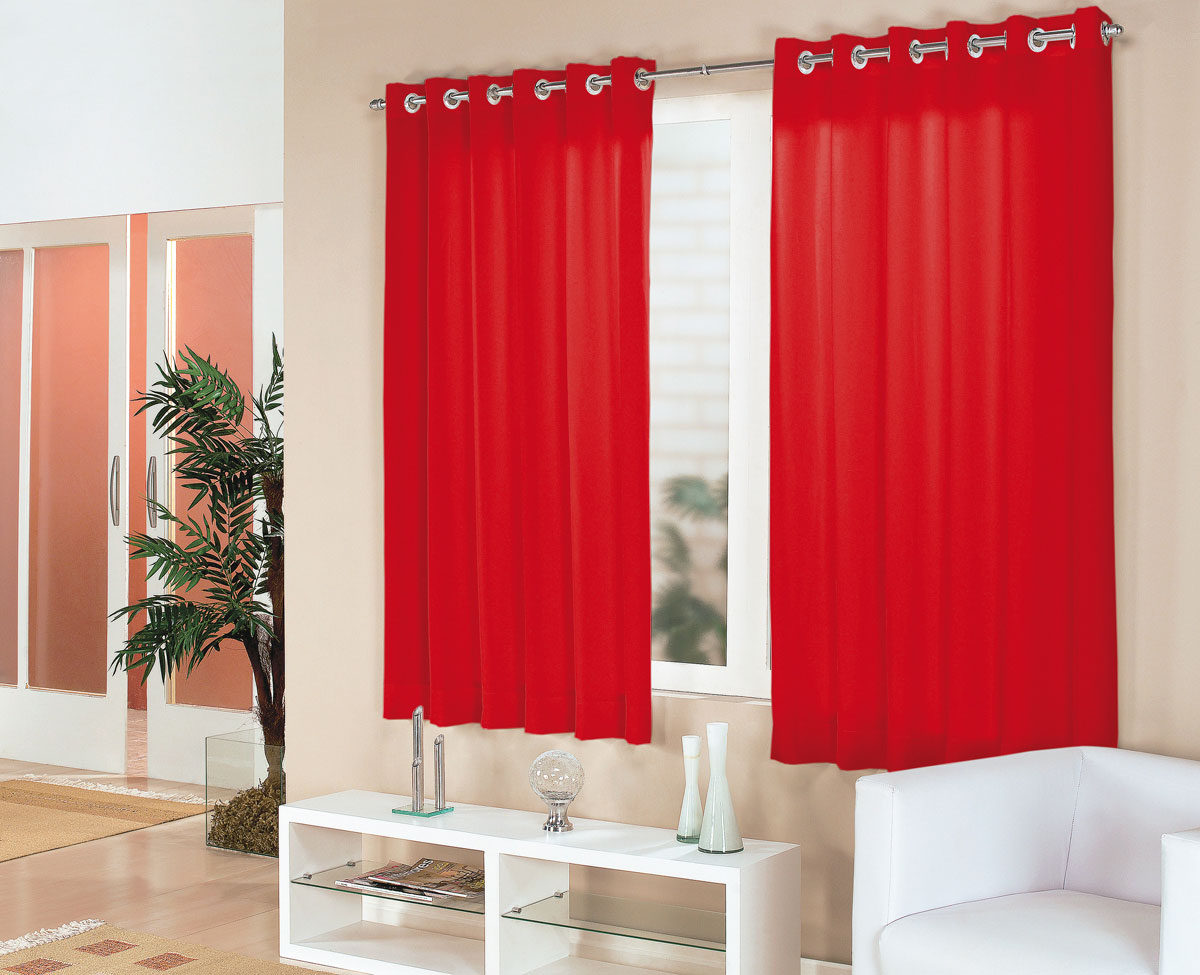 Cortina sala e quarto vermelho tecido cortelano algodao e - Cortinas por metros ...