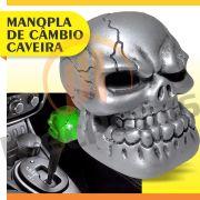 Manopla Bola C�mbio Caveira Big Prata Tunning Universal Skull