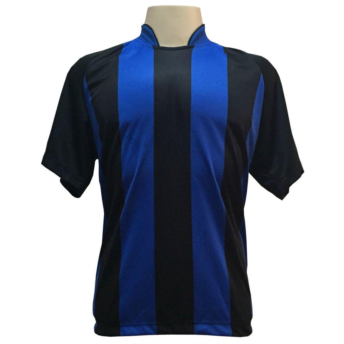Jogo de Camisa modelo Milan Preto/Royal com 20 unidades - Frete Gr�tis Brasil + Brindes