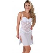 Camisola Branca Transparente em Renda com Bojo Diana - SS028