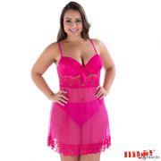 Camisola Plus Size Transparente Rosa em Tule e Renda com Bojo Valentina - MS1825