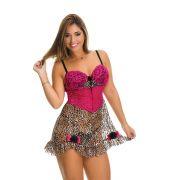 Camisola Rosa em Renda com Bojo Estampa de on�a Anita - EK5002