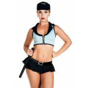 Fantasia Adulto Er�tica Policial Sexy Americana de Mini Saia e Cassetete - VT164