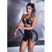 Fantasia Er�tica Secret�ria com Top Strappy Cirr� Preto - GV371